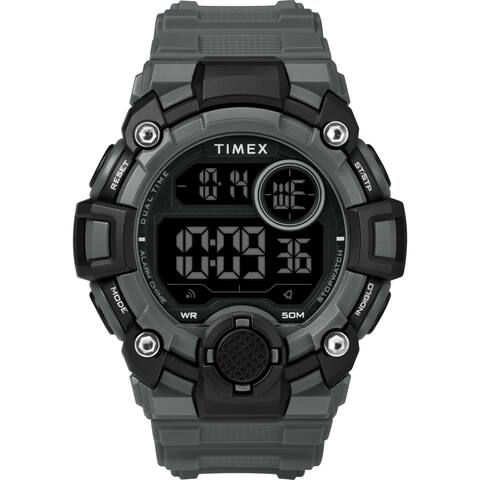 Timex Men's TW5M27500 A-Game DGTL 50mm Gray/Black Resin Strap Watch
