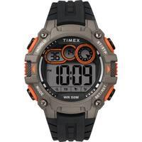 Timex Men's TW5M27200 Big Digit DGTL 48mm Black/Gray/Orange Silicone Strap Watch - N/A