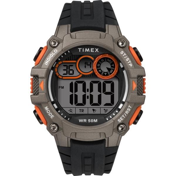 Timex Men's TW5M27200 Big Digit DGTL 48mm Black/Gray/Orange Silicone Strap Watch