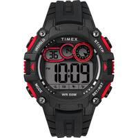 Timex Men's TW5M27000 Big Digit DGTL 48mm Black/Gray/Red Silicone Strap Watch
