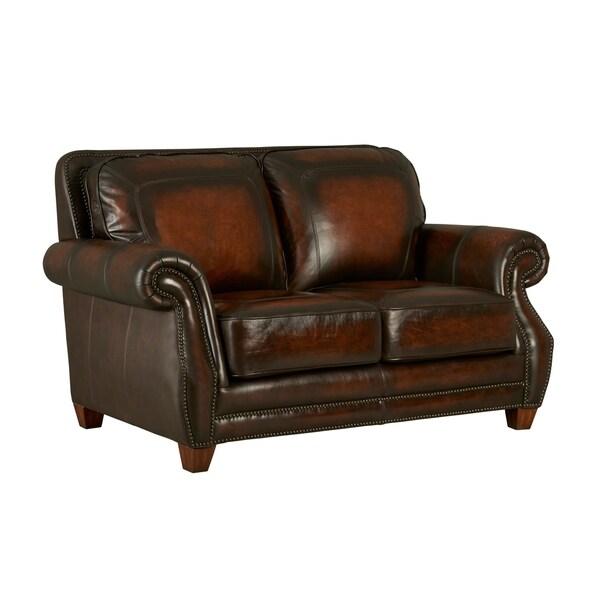 Shop Cordova Loveseat, 100% Top Grain Leather, Coffee