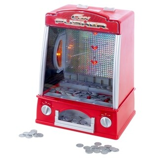 Coin Pusher Miniature Arcade Game - Replica Classic Penny and Dime Dozer Table or Bar Top Prize Vending Machine by Hey! Play!
