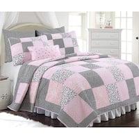 Cozy Line Emerson 3-piece Patchwork Reversible Cotton Quilt Set - Black/Pink/White