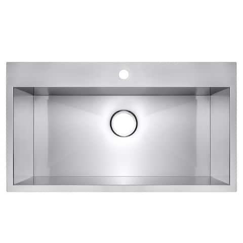 "AKDY 30"" x 18"" x 9"" Top Mount Handmade Stainless Steel Single Bowl Kitchen Sink - Silver"