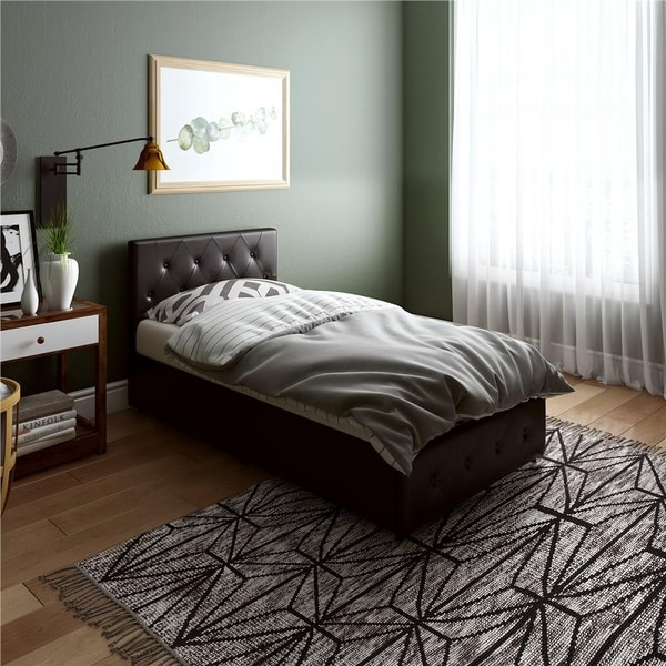 Avenue Greene Darci Faux Leather Upholstered Bed with Storage. Opens flyout.