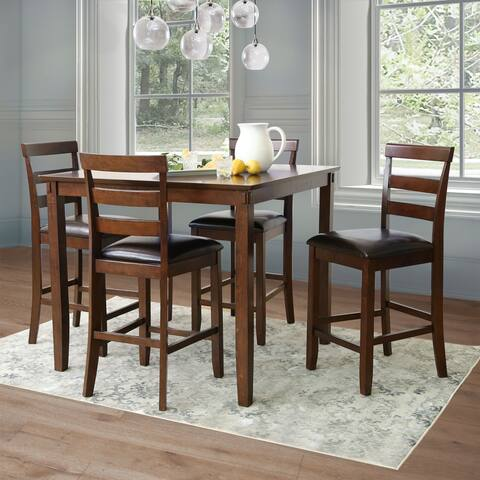 Abbyson Damian Espresso 5-piece Counter Height Dining Set