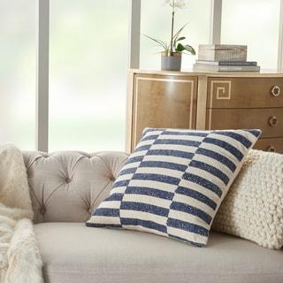 Mina Victory Life Styles Navy Stripes Throw Pillow