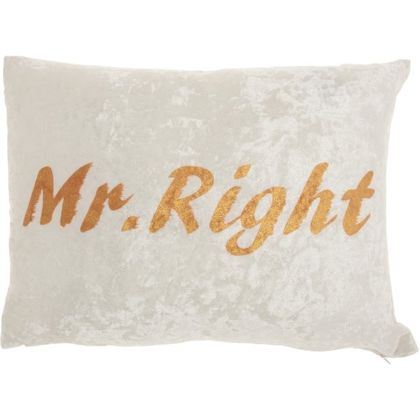 "Mina Victory Luminescence Ivory ""Mr Right"" Throw Pillow"