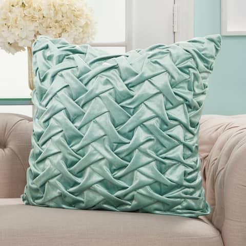Mina Victory Life Styles Velvet Pleated Waves Decorative Throw Pillow