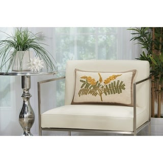Mina Victory Beige Floral Loop Shag Throw Pillow