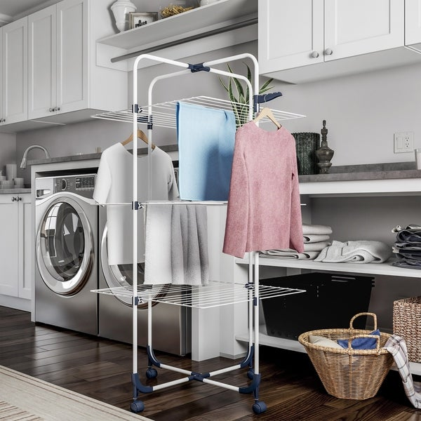 Tiered Laundry Station with Collapsible Shelves and Wheels for Folding, Sorting and Air Drying by Lavish Home. Opens flyout.