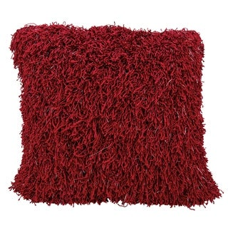 Mina Victory Red Curly Shag Throw Pillow
