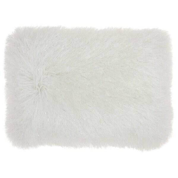 Mina Victory Shag White Yarn Shimmer Shag Throw Pillow