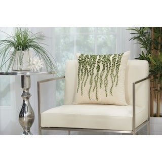 Mina Victory Green and Ivory Weeping Willow Throw Pillow