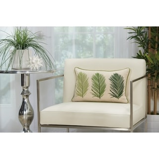 Mina Victory Green and Ivory 3 Palm Leaves Lumbar Pillow