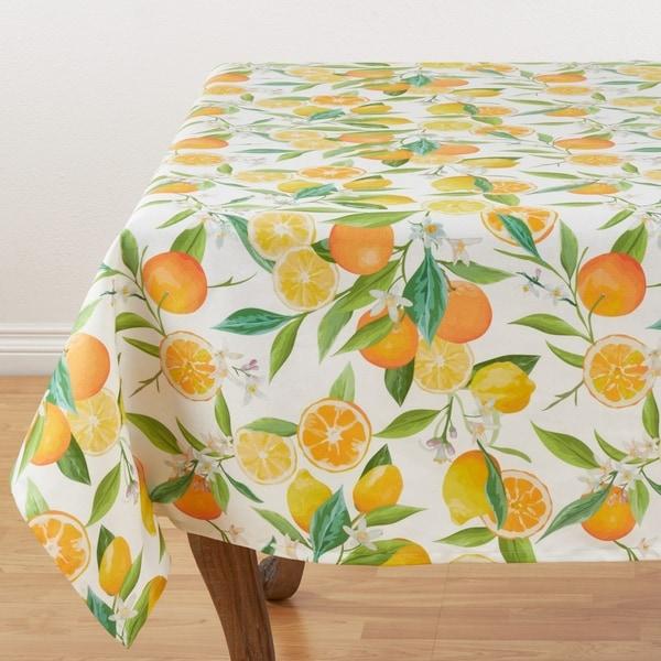 No Iron Tablecloth With Lemon & Orange Print