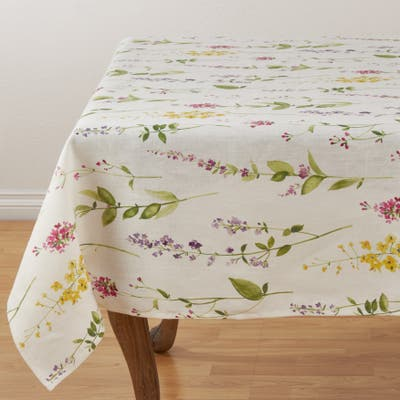 Linen Tablecloth with Watercolor Floral Stems