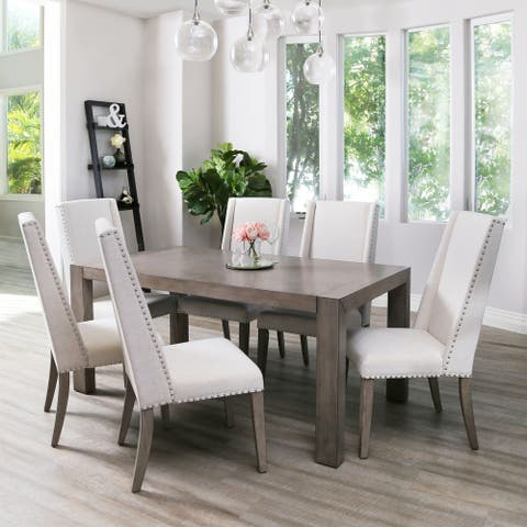 Abbyson Lillian Acacia 7 Piece Dining Set