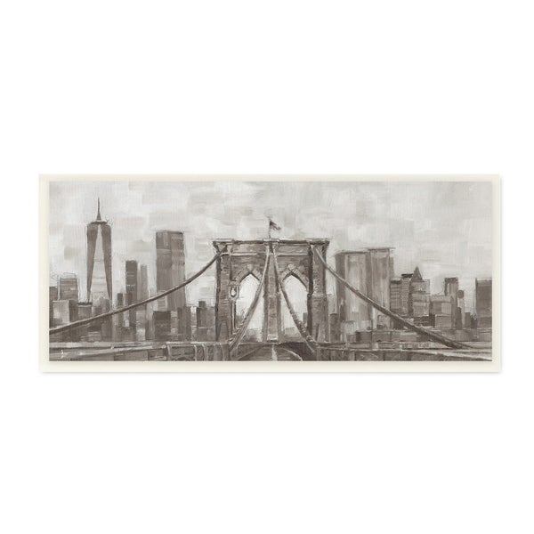 The Stupell Home Decor Neutral Grey Tan Panoramic View Of New York City Wall Plaque Art