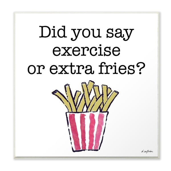 Porch & Den Exercise or Extra Fries Striped Fry Illustration Wall Plaque Art - 12 x 12