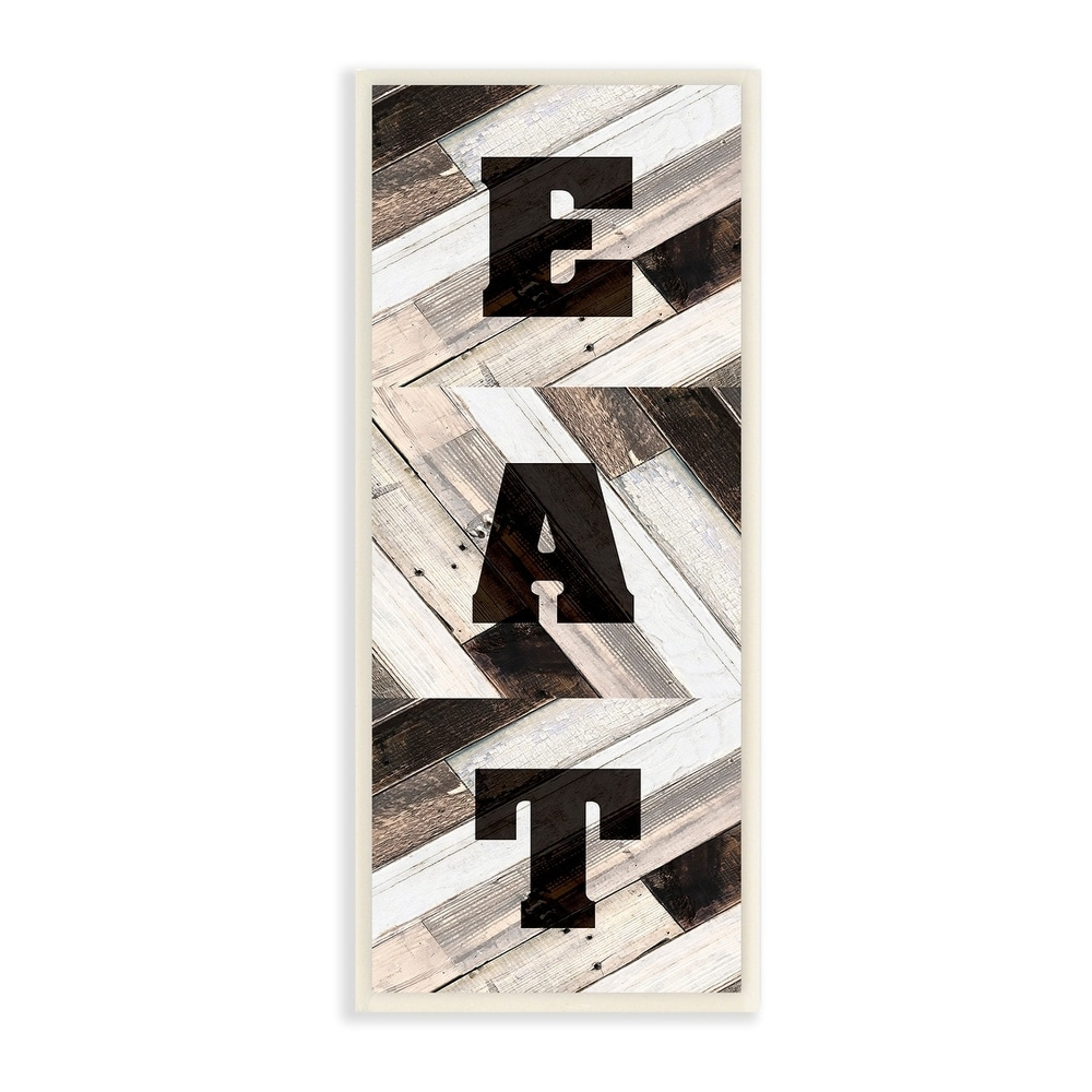The Stupell Home Decor EAT Multicolored Planked Wood Look Sign Wall Plaque Art, 7 x 17, Proudly Made in USA - 7 x 17