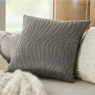 Mina Victory Luminecence Beaded Waves 18 inch Decorative Throw Pillow