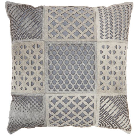 Mina Victory Grey Cut Out Tiles Throw Pillow