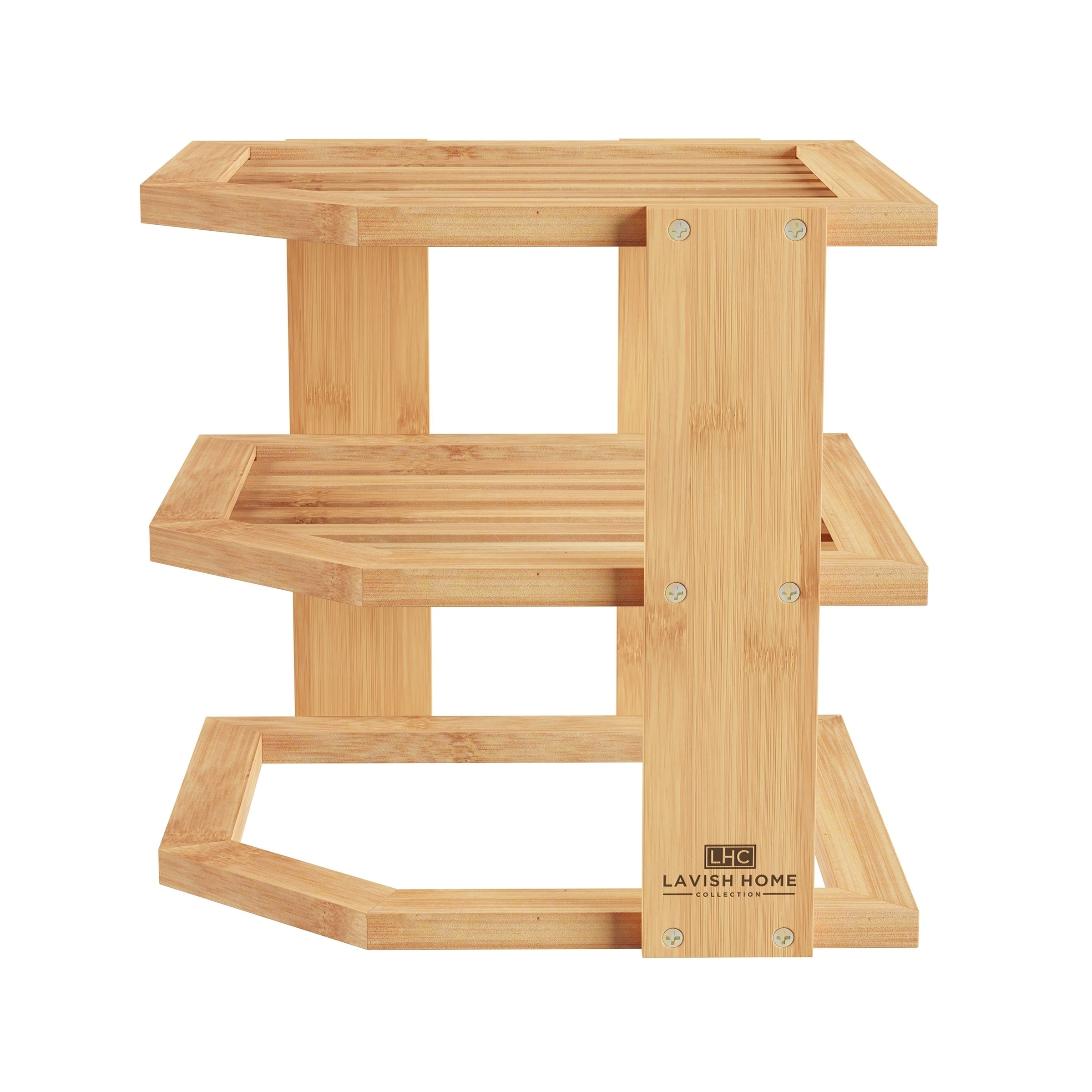 Tiered Bamboo Corner Shelf for Kitchen or Countertop Organization, Natural  Wood by Lavish Home