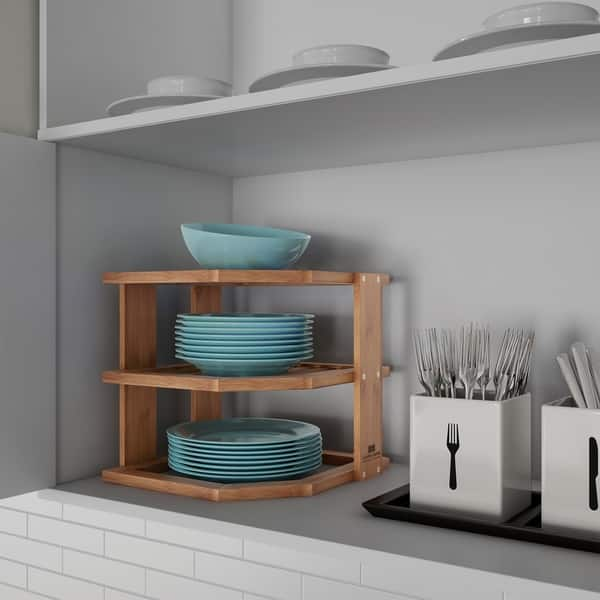 Shop Tiered Bamboo Corner Shelf for Kitchen or Countertop ...