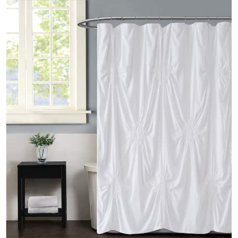 Silver Orchid Perkins Rouched 72 x 72-inch Shower Curtain