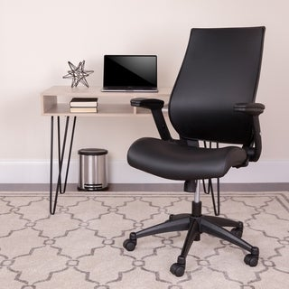 Black High Back LeatherSoft Executive Chair with Molded Seat and Adjustable Arms