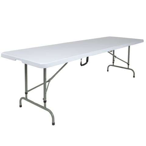 8-Foot Height Adjustable Bi-Fold Granite White Plastic Folding Table with Handle