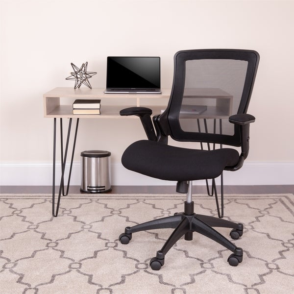 Black Mid-Back Mesh Executive Office Chair with Molded Seat and Adjustable Arms