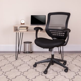 Black Mid-Back Mesh Executive Chair with Back Angle Adjustment and Curved Arms