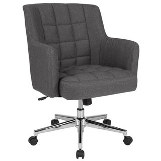 Home and Office Box Tufted Upholstered Mid-Back Swivel Chair