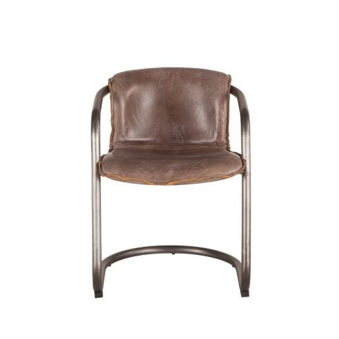Chiavari Set of 2 Distressed Jet Brown Leather Dining Chairs