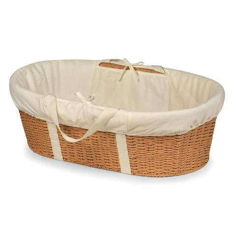 Wicker-Look Woven Baby Moses Basket with Bedding