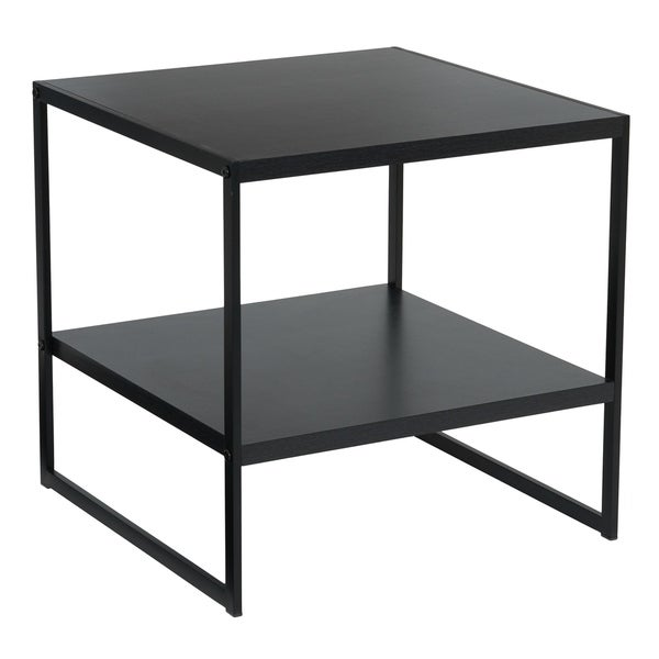 Household Essentials Square End Table in Black Wood Grain