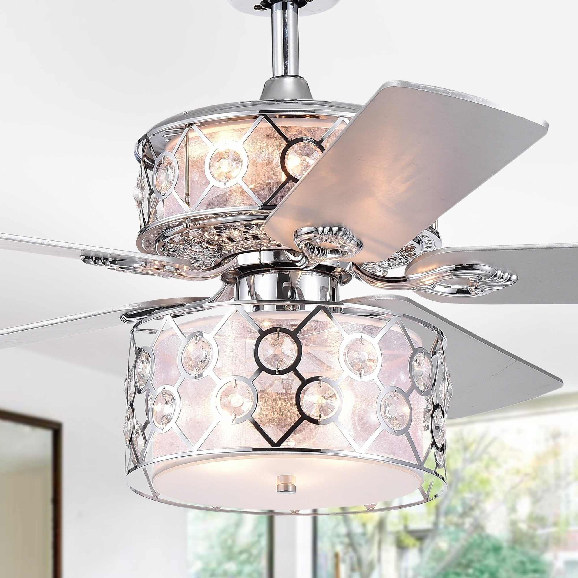 Shop Black Friday Deals On Rillome Chrome 52 Inch Dual Lighted Ceiling Fan With Layered Fabric And Metal Drum Lamps Incl Remote 2 Color Option Blades On Sale Overstock 26960996
