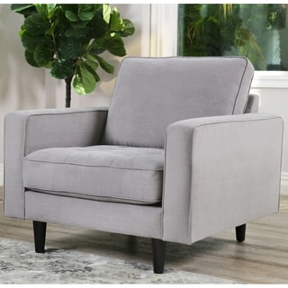 Abbyson Holloway Mid Century Grey Fabric Tufted Armchair