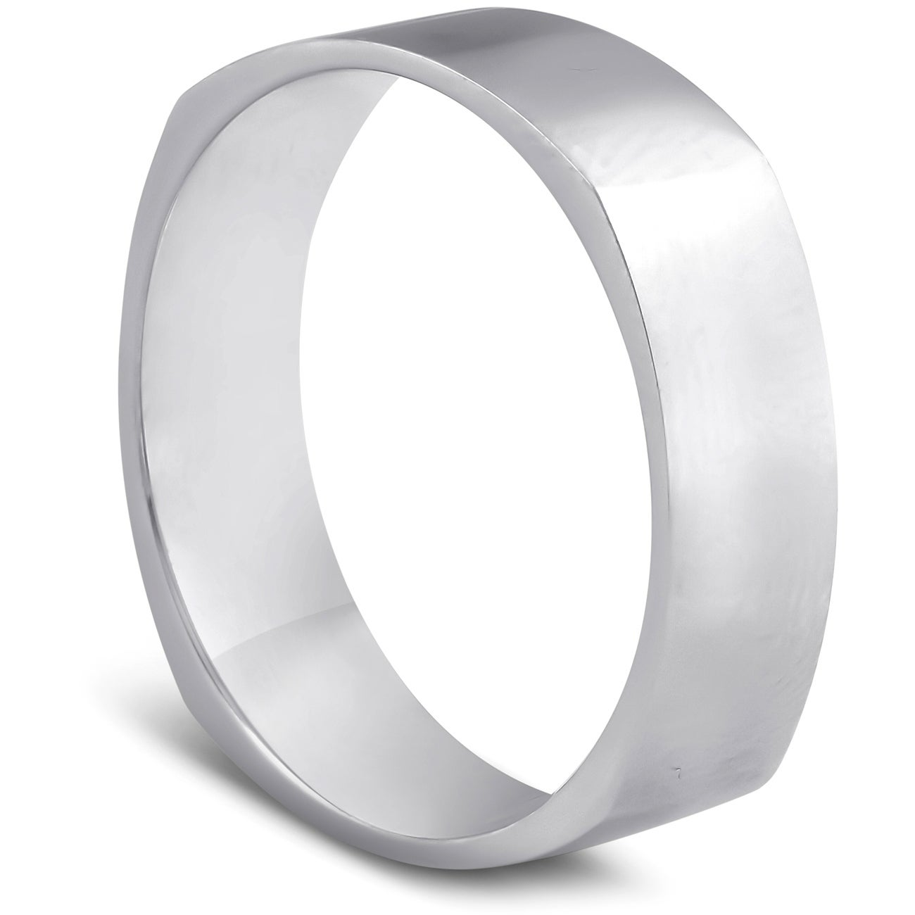 Titanium 6mm Flat Polished Comfort Fit Wedding Band Ring