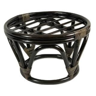 International Caravan Bali Papasan Java Brown Lacquer Finish Rattan Footstool Frame (Cushion not Included)