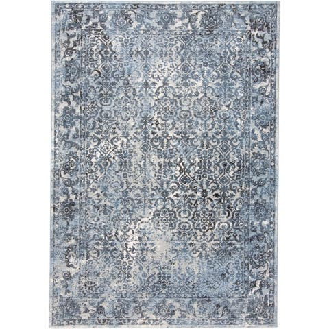 Grand Bazaar Tullamore Blue/Charcoal Traditional Ornamental Area Rug