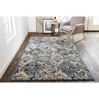 Grand Bazaar Tullamore Blue/Tan Southwestern Diamond Area Rug