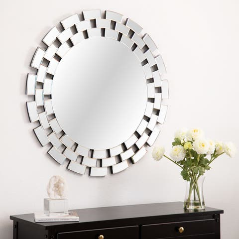 Maya Glam Round Accent Wall Mirror - Silver By Abbyson