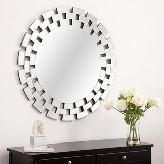 Maya Glam Round Accent Wall Mirror Silver By Abbyson Overstock 26961744
