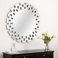 Abbyson Maya Round Accent Wall Mirror - Silver