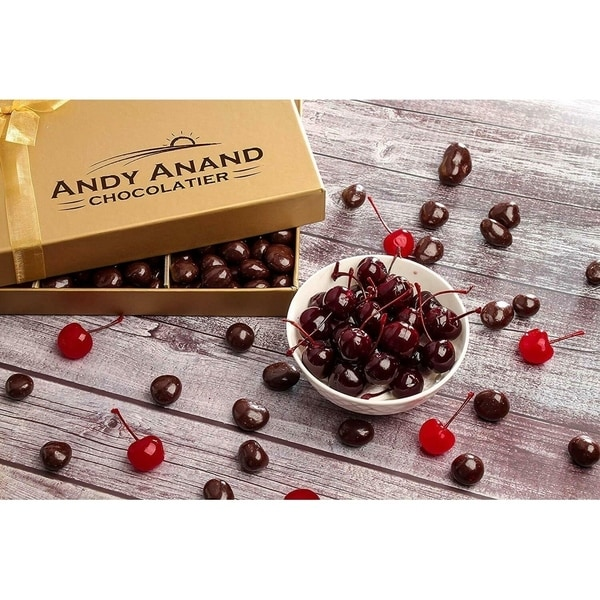 Andy Anand Chocolate Gift Basket, Plush Teddy Bear and Dark Chocolate Covered Cherries Greeting Card 1lbs Birthday Anniversary. Opens flyout.