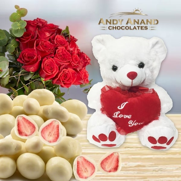 Shop AndyAnand Special Gift Basket,Plush Teddy Bear with Premium Strawberry - Free Shipping On Orders Over $45 - Overstock - 26966408