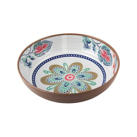 Melange 36-Piece 100% Melamine Bowl Set (Flowers in Clay)